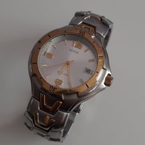 Guess Silver & Gold-Tone Analog Waterproof Watch